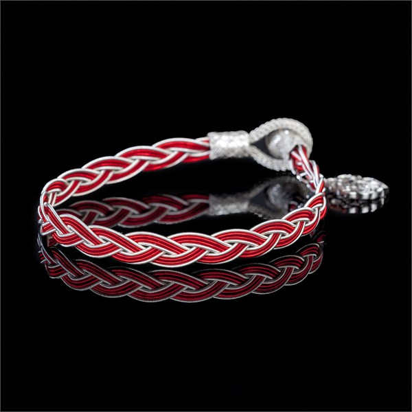 Royal Braid, White & Red Bracelet