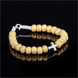 Gold Soul, White Single Cross Bracelet