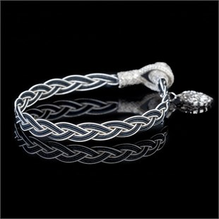 Royal Braid, White & Black Bracelet