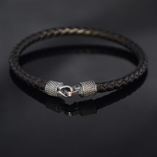 Black Hook & Black Leather Bracelet