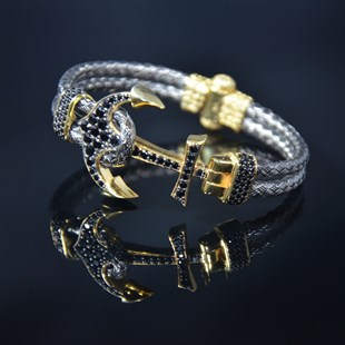 Premium Anchor Bracelet & Oxidized-Gold Plated