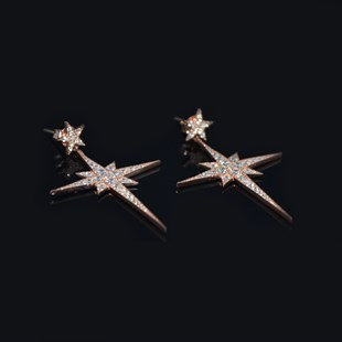 Premium Rose & White Star Earrings
