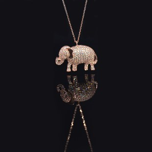 Premium Rose Elephant Necklace