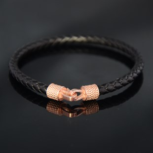 Rose Hook & Black Leather Bracelet