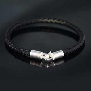 Silver Hook & Black Leather Bracelet