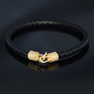 Yellow Hook & Black Leather Bracelet